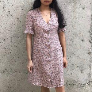 MONTEAU Pink V-Neck Floral Dress
